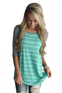 Women Casual Round Neck Stripes Long Sleeve T-Shirt Green