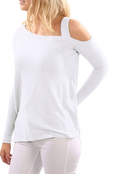 Women One Shoulder Long Sleeve Side Slit T-Shirt White