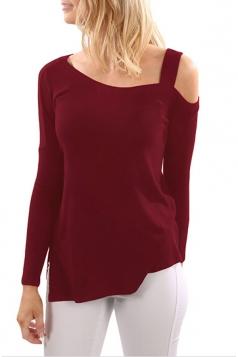 Women One Shoulder Long Sleeve Side Slit T-Shirt Ruby