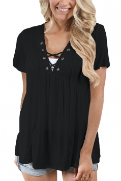 Women Deep V Lace Up Tunic Pleated Plain T-Shirt Light Black