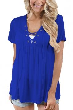 Women Deep V Lace Up Tunic Pleated Plain T-Shirt Light Sapphire Blue