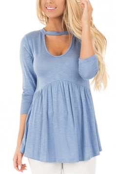 Women Long Sleeve Tunic Pleated U Neck Blouse Blue