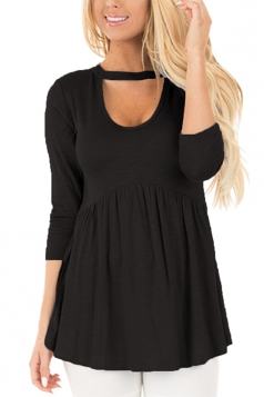 Women Long Sleeve Tunic Pleated U Neck Blouse Black