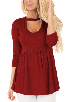 Women Long Sleeve Tunic Pleated U Neck Blouse Ruby