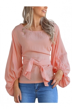 Women Crew Neck Cross Bandage Puff Sleeve Blouse Pink
