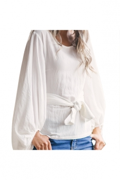 Women Crew Neck Cross Bandage Puff Sleeve Blouse White