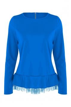 Women Plain Zipper Chiffon Hem Patchwork Long Sleeve Blouse Blue