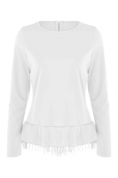 Women Plain Zipper Chiffon Hem Patchwork Long Sleeve Blouse White