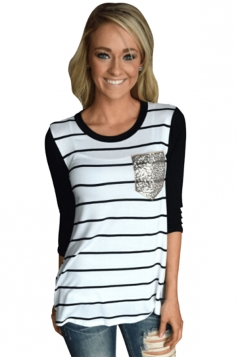 Women Black Stripe Sequin Pocket Long Sleeve T-Shirt White