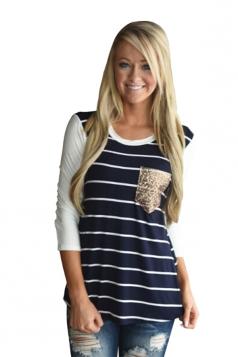 Women Black Stripe Sequin Pocket Long Sleeve T-Shirt Navy Blue