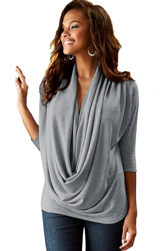 Women Cowl Neck 3/4 Length Sleeve Blouse Dark Gray
