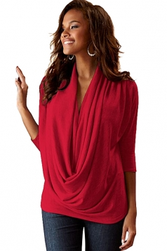 Women Cowl Neck 3/4 Length Sleeve Blouse Red