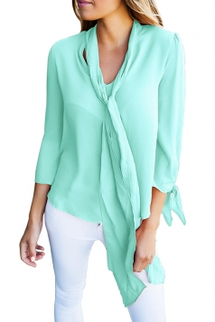 Turquoise Bow-Tie Sleeved Blouse With Necktie