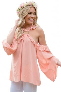 Pink O-Ring Connected Ruffle Detail Off Shoulder Blouse