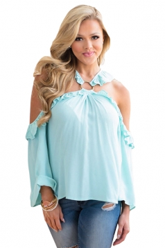 Turquoise O-Ring Connected Ruffle Detail Off Shoulder Blouse