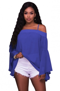 Women Sexy Spaghetti Strap Off Shoulder Flare Sleeve Chiffon Blouse Blue