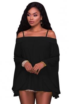 Women Sexy Spaghetti Strap Off Shoulder Flare Sleeve Chiffon Blouse Black