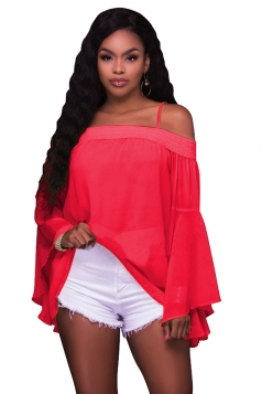 Women Sexy Spaghetti Strap Off Shoulder Flare Sleeve Chiffon Blouse Rose Red