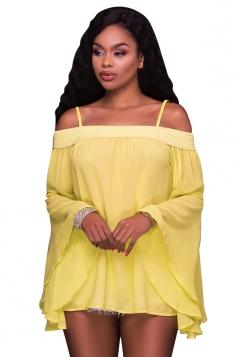 Women Sexy Spaghetti Strap Off Shoulder Flare Sleeve Chiffon Blouse Yellow