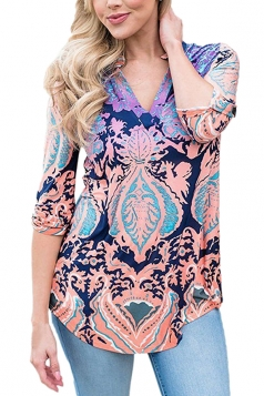 V Neck Printed 3/4 Sleeve Blouse Multicolor