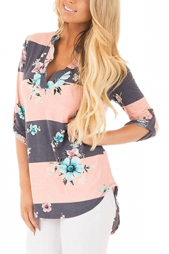 V Neck Printed 3/4 Sleeve Blouse Pink