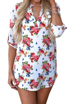 V Neck Floral Printed 3/4 Sleeve Blouse White