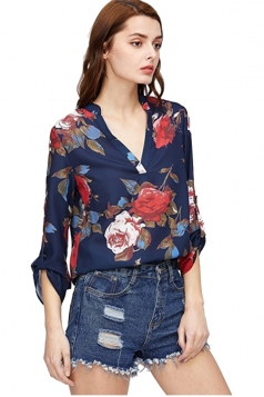 Women V-Neck Floral Printed High Low 3/4 Length Sleeve Blouse Navy Blue