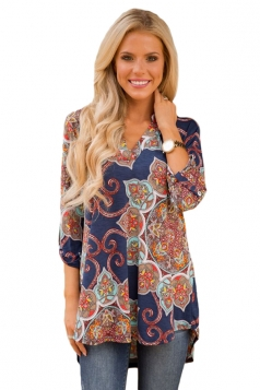 Women Gypsy Floral Print Slight V Neck Blouse Blue
