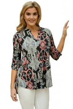 Women Dark Carved Paisley Print Slight V Neck Blouse Black