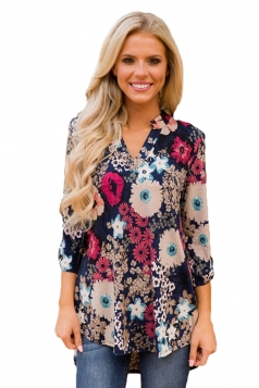 Women Blossom Print Slight V Neck Blouse Dark Red