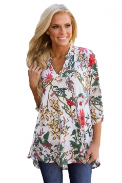 Women Magenta Floral Print Slight V Neck Blouse Green