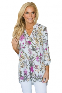 Women Magenta Floral Print Slight V Neck Blouse Multicolor