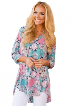 Women Pink Floral Paisley Print Slight V Neck Blouse Turquoise