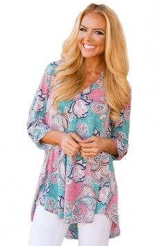 Women Pink Floral Paisley Print Slight V Neck Blouse Turquoise