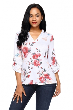 Women Red Floral Print Slight V Neck Blouse White