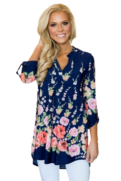 Women Vibrant Floral Print Slight V Neck Blouse Navy Blue