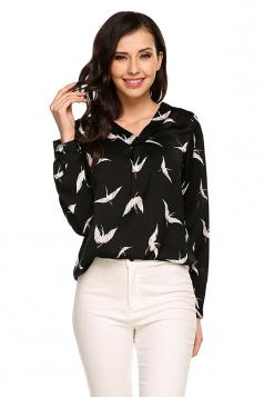 Women Casual Printed V-Neck High Low Hem Long Sleeve Blouse Black