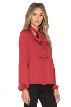 Women Sexy Bow Tie V-Neck Long Sleeve Plain Blouse Red