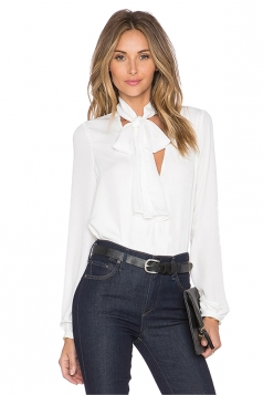 Women Sexy Bow Tie V-Neck Long Sleeve Plain Blouse White