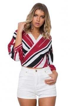 Women Sexy V-Neck Stripe Lace Up 3/4 Length Sleeve Blouse Ruby
