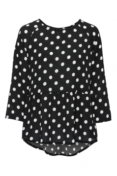 Crew Neck Dot Printed Asymmetrical Hem 3/4 Length Sleeve Blouse Black