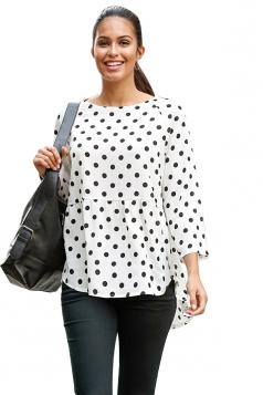 Crew Neck Dot Printed Asymmetrical Hem 3/4 Length Sleeve Blouse White