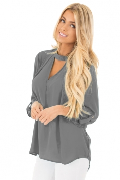 Women Sexy Choker V-Neck Cut Out Keyhole Back Long Sleeve Blouse Gray