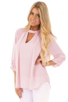 Women Sexy Choker V-Neck Cut Out Keyhole Back Long Sleeve Blouse Pink