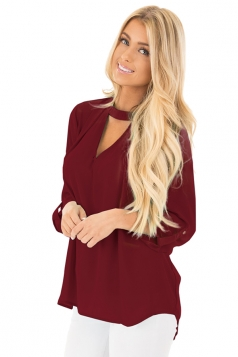 Women Sexy Choker V-Neck Cut Out Keyhole Back Long Sleeve Blouse Ruby