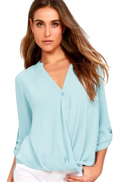 Sexy V-Neck 3/4 Length Button-Up Sleeve High Low Blouse Light Blue
