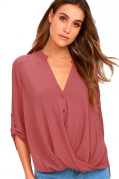 Sexy V-Neck 3/4 Length Button-Up Sleeve High Low Blouse Watermelon Red
