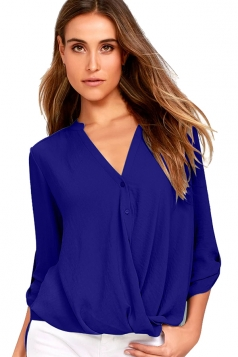 Sexy V-Neck 3/4 Length Button-Up Sleeve High Low Blouse Sapphire Blue