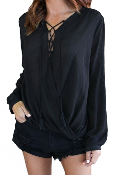 V-Neck Lace Up Long Sleeve Knotted Asymmetrical Hem Blouse Black