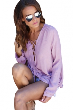 V-Neck Lace Up Long Sleeve Knotted Asymmetrical Hem Blouse Purple